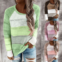Womens Long Sleeve Loose Knitted Sweater Casual Jumper Tops Blouse Winter
