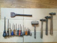 Antique or Vintage Stone or Wood Carving Tool Chisel and Pick Set Lot