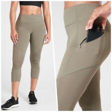 ATHLETA MT Mesh Contender Capri M TALL Laurel Olive   Running Tight Leggings NWT