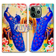 Bcov Blue Peacock Wallet Leather Cover Case For iPhone 11/Pro/Max