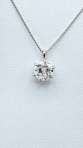 1.02 ct NATURAL DIAMOND round solitaire pendant necklace SOLID platinum (VIDEO)