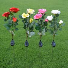 Solar Power Rose Flower Garden Stake Landscape Fairy Lamp Outdoor Yard LED Light