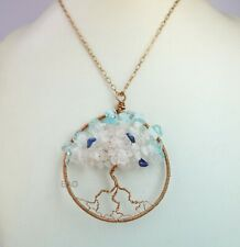 Tree of Life Copper Beautiful Lapis,Rose quartz,Blue topaz