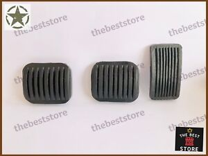 WILLYS 55-71 CJ-5 CJ3A CJ3B JEEP BRAKE,CLUTCH AND THROTTLE PEDAL RUBBER SET OF 3