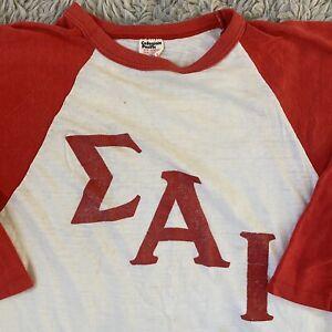 Collegiate Pacific Vintage 70s Medium T Shirt Raglan Frat Sigma Alpha Iota USA