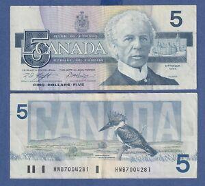 "Canada Five Dollar $5 (1986) - Circulated Notes - Signature set ""Knight/Dodge"""