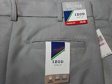NWT IZOD 32 x 30 GOLF PANTS gray grey FLAT FRONT STRETCH CLASSIC FIT mens NEW