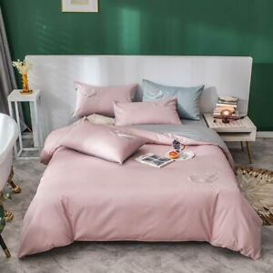Pink Solid Feather Egyptian Cotton Embroidery Queen King Bedding Duvet Cover NEW
