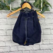 Halston Heritage Navy Blue Leather and Suede Backpack Handbag