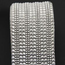 16 Rows Silver Diamond Mesh Wrap Crystal Roll Ribbon Rhinestone Wedding Decorati