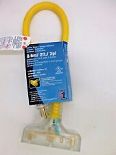 New! Power 1St 2' 12/3 3-Outlet Lighted Extension Cord Stw, 4Db72B