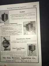 Selg  Brewing Equipment Beer Ad 1907 Brewery New York Kettle Cooker Etc