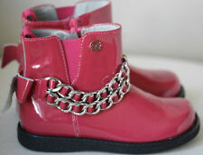 MISS BLUMARINE KIDS PINK PATENT LEATHER BOOTS EU 25 UK 8