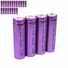 20 pcs AA LR06 3000mAh 1.2V NI-MH rechargeable battery CELL/RC MP3 SILVER PURPLE