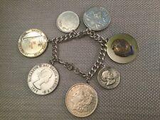 Vintage 7 Coin Charm Sterling Silver Bracelet
