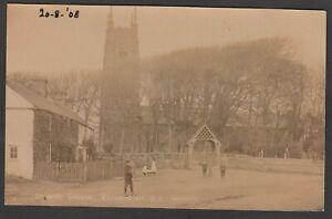 Postcard Kilkhampton nr Bude Cornwall children by St James Church dated 1908 RP
