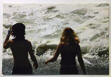 Vintage 90s PHOTO Boy & Girl Walking Towards Water Away From Camera Man