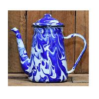 "NEW Enamelware Swirl Splatter Ware Cobalt Blue 7 1/2"" Coffee Tea Pot Farm Camp"
