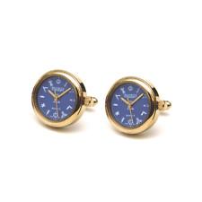 Designer-Jean Pierre della Svizzera-Placcato Oro Orologio massonico Gemelli/Blu