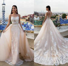 Romantic Champagne Wedding Bridal Long Gown Dresses Scoop Neck Chapel Custom