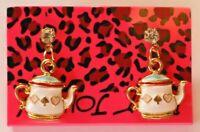 Betsey Johnson Crystal Rhinestone Enamel Teapot Post Earrings