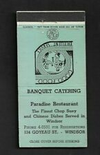 Matchbook Cover Windsor Canada Paradise Restaurant Banquet Catering *4187