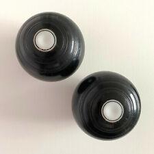 Vintage Pair of Unbranded Size 00 Ladies Black White Crown Green Bowls