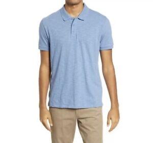 Vince Men's Classic Slim Fit Polo Still Water Blue Size XL