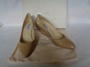 NEW JIMMY CHOO Ladies AIKEN Patent Leather NUDE Heels Shoes UK 7 EU 40 RRP £400
