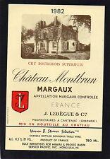 MARGAUX VIEILLE ETIQUETTE CHATEAU MONTBRUN 1982 EXPORT PACIFIQUE      §15/11/16§