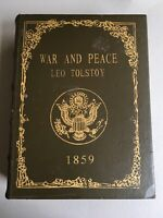 War And peace Leo Tolstoy Wood Book Secret Fake Faux Vtg Hidden Jewelry Box