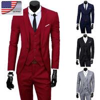 US Mens Botton Down Suits Business Blazer Slim Fit Jacket+Tux Vest+Trousers