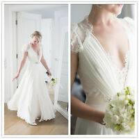 Cap Sleeve Lace Boho Wedding Dress Chiffon Elegant Bridal Gown 4 6 8 10 12 14 16