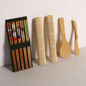 Sushi Maker Set Bamboo Sushi Kit Included 2 Rolling Mats 5 Pairs Chopsticks