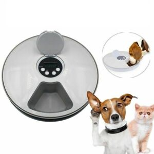 Automatic Pet Timing Feeder Round 6 Meals Cat Dog Electric Food Bowl Dispenser