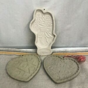 GROUP OF THREE COOKIE MOLDS--LONGABERGER AND PAMPERED CHEF-HOPE ANGEL AND HEARTS