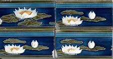 Lot 4 Original German jugendstil flowers pond Art Nouveau Majolica tiles w/fault