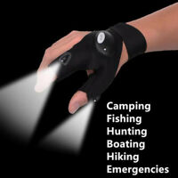 Outdoor Fishing Magic Strap Fingerless Glove LED Flashlight Torch Cover Lights