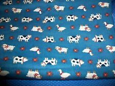 Small Farm Animals Cotton Quilt Fabric - Cow, Pig, Duck, Sheep