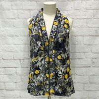 Geren Ford Blouse Top Sleeveless Grey Yellow Floral Silk Print Womens Size Small