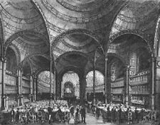 PARIS. Salle lecture Bibliotheque nationale  1881 old antique print picture