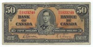 Canada P-63b 50 Dollars 1937 circulated