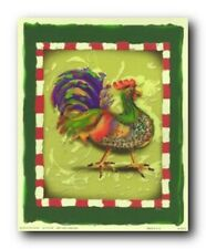 Blue and Green Chicken Rooster Kitchen Wall Decor Art Print Poster (16x20)