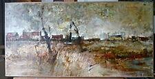 """Michel de GALLARD(1921-2007): huile sur toile """"Paysage avec maisons"""",40x80cm,shd"""