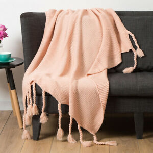 NEW LIVING SPACE ORANGE IVY SPACE DYE THROW 127 x 152 CM.SUPERSOFT ACRYLIC KNIT