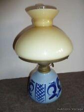 1x Antike PETROLEUMLAMPE Kosmosbrenner Lampenschirm Steingutfuß Lampe Keramik