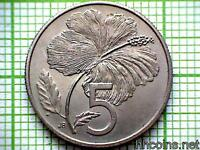 COOK ISLANDS 1976 5 TENE, HIBISCUS FLOWER, MATTE UNC - LOW MINTAGE 1000pcs ONLY