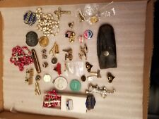 Junk Drawer Lot, Pints, Tie Clips, Cuff Links, Knife, Pendants, etc