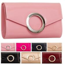 LADIES NEW PATENT LEATHER CIRCLE DETAIL EVENING CLUTCH BAG PURSE HANDBAG