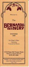 The Bernardo Winery San Diego California CA Vintage Brochure